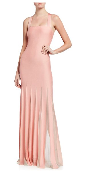 St. John Sheer Knife Pleated Crisscross Strap Jacquard Gown in pale coral
