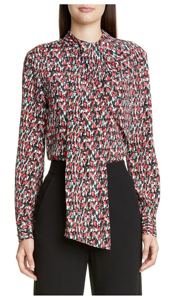 St. John speckled print stretch crepe blouse in scarlet multi