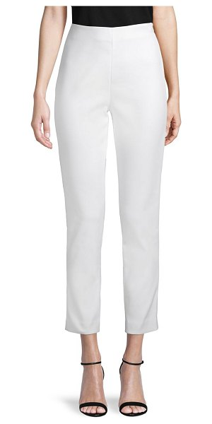 St. John Stretch Double Weave Ankle Pants in white