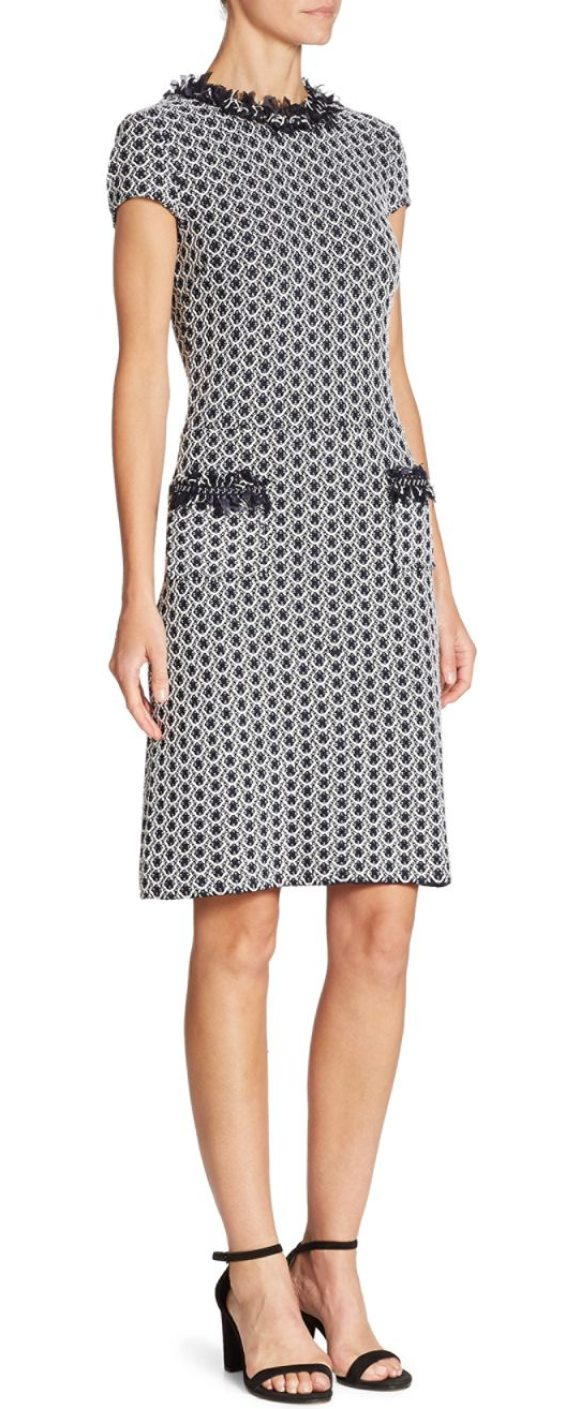 St John Tweed Knit Dress In Bianco Navy Feathered Trim Enlivens This Patterned