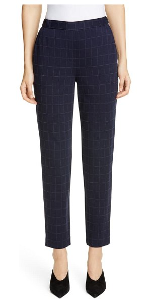 St. John windowpane double face jersey pants in navy multi