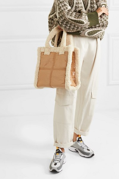 Stand Studio lolita faux shearling-trimmed crinkled faux leather tote in tan