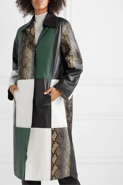 Stand Studio nino patchwork leather coat in green