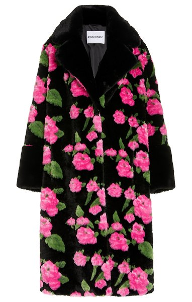 Stand Studio liliana floral-print faux fur coat in floral