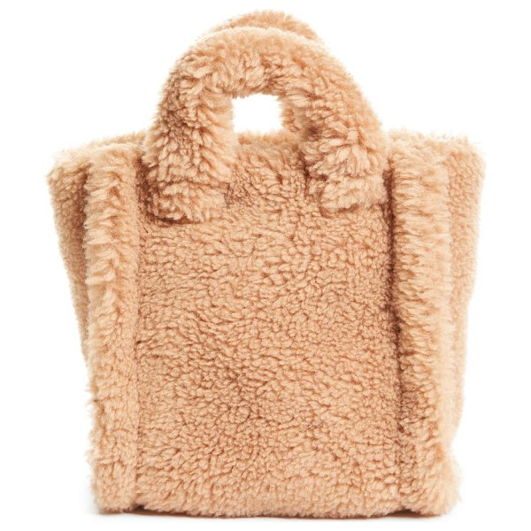 Stand Studio mini lizzie teddy faux shearling tote in sand at nordstrom in sand