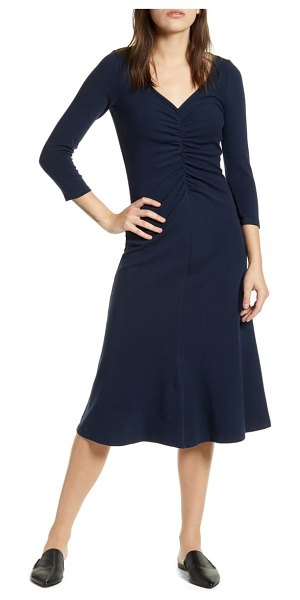 Stateside ruched detail stretch cotton flare dress in navy