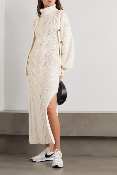 STAUD aubrey cable-knit cotton-blend turtleneck maxi dress in ivory