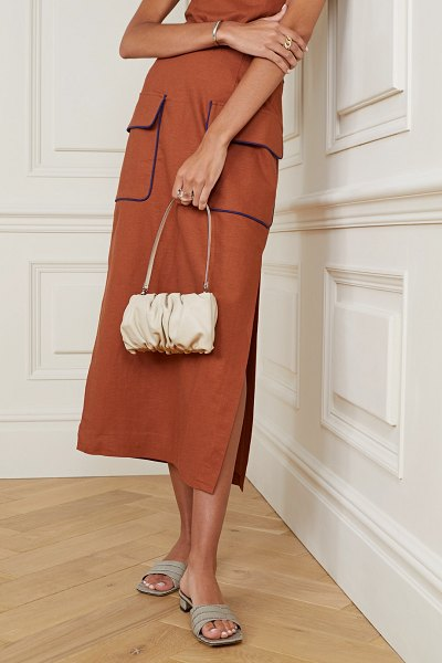 STAUD bean gathered leather shoulder bag in cream