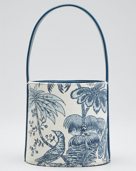 STAUD Bisset Peacock Canvas Mini Bucket Bag in blue pattern