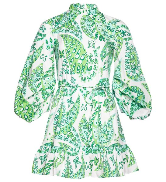 STAUD carolina puff-sleeve floral a-line dress in light green