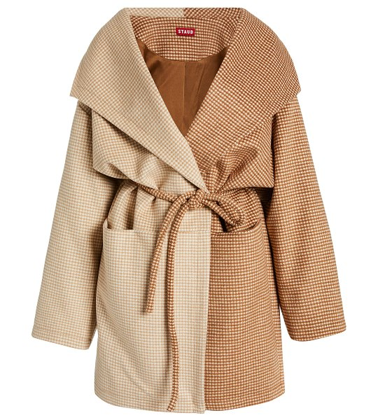 STAUD chiba two-tone houndstooth knit coat in brown