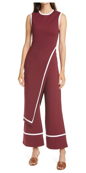 STAUD dee overlay detail jumpsuit in tawny port