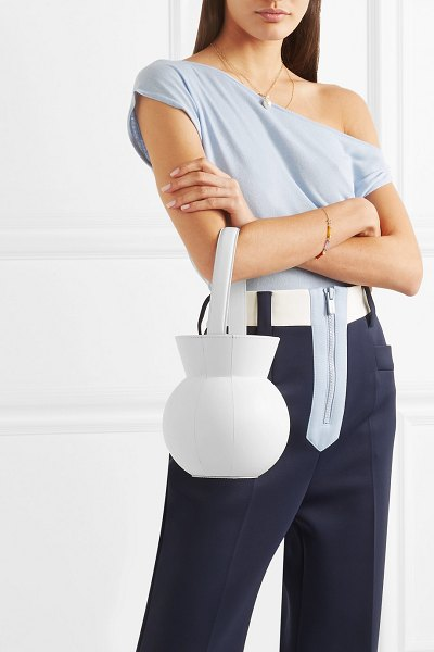 STAUD keaton leather bucket bag in white - STAUD's cult bucket bags become more inventive each...