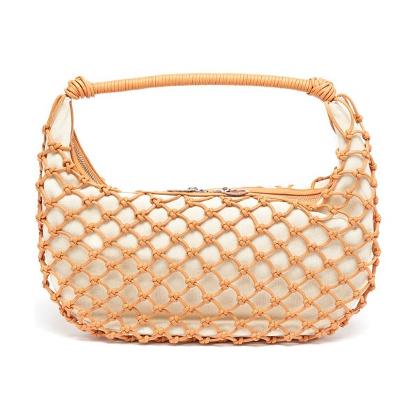 STAUD luna crocheted faux-leather shoulder bag in beige multi