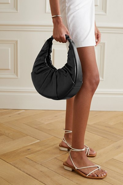 STAUD moon ruched leather tote in black