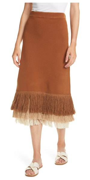STAUD nelly fringe hem midi skirt in whiskey
