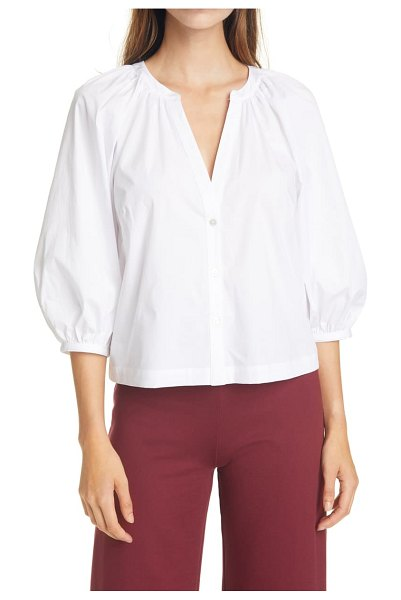 STAUD new dill stretch cotton button-up blouse in white / black stitch