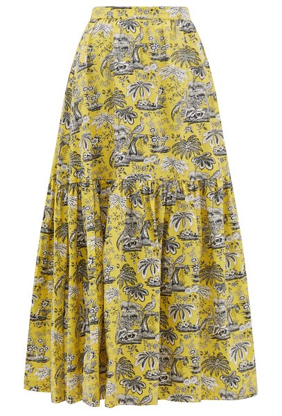 STAUD orchid tropical-print cotton-blend skirt in yellow