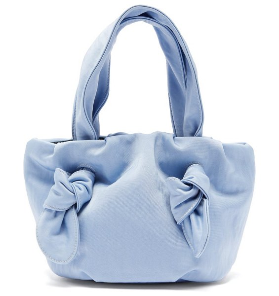 STAUD ronnie knotted satin bag in light blue