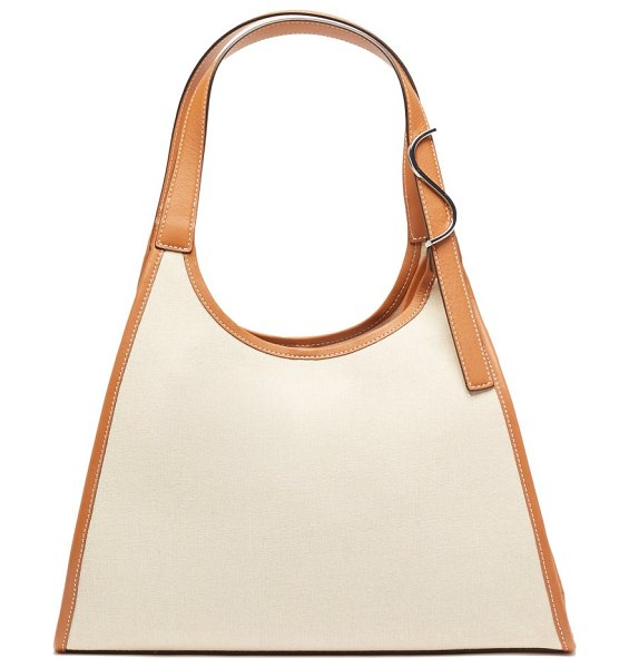 STAUD soft rey leather-trimmed linen tote bag in beige multi