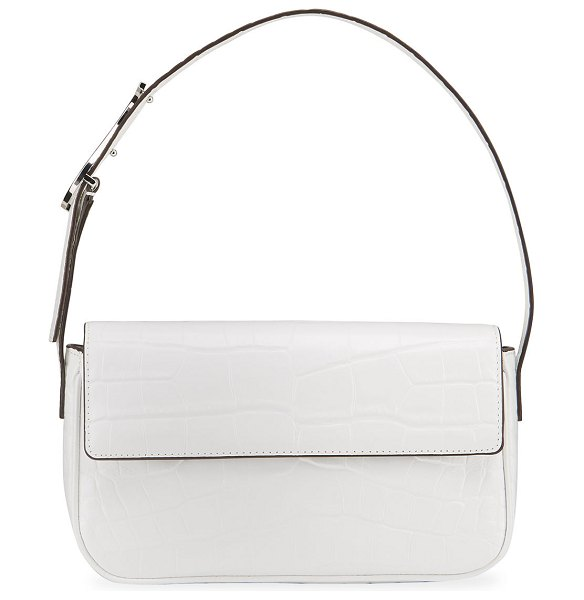 STAUD Tommy Colorblock Moc-Croc Shoulder Bag in fresh white faux