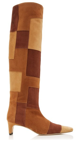 STAUD wally patchwork suede knee-high boots in brown