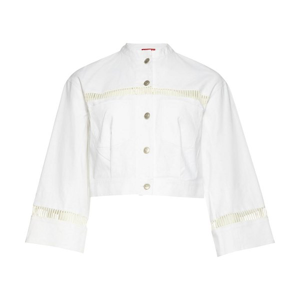 STAUD willow cropped jacket in white