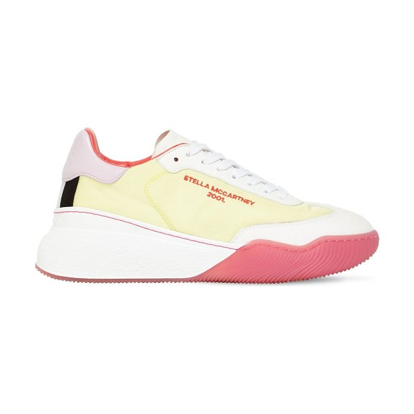 Stella McCartney 40mm loop nylon & faux leather sneakers in yellow,white