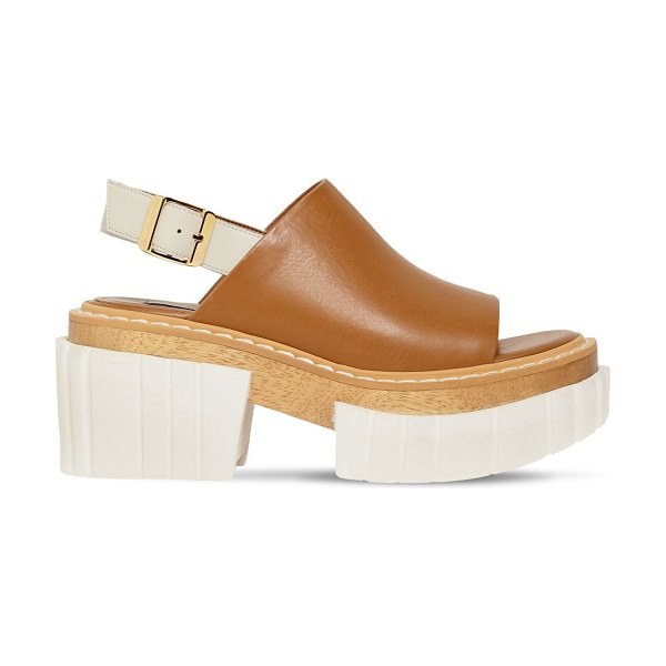 Stella McCartney 60mm emilie faux leather sandals in tan,off-white