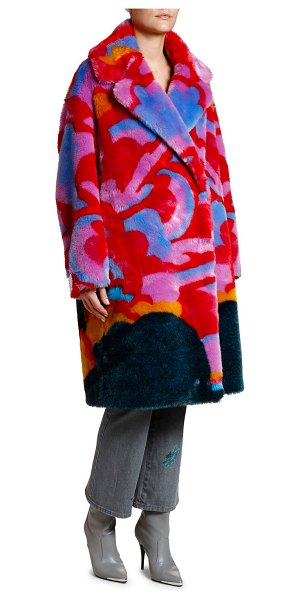 Stella McCartney Beatles Yellow Submarine Intarsia Faux-Fur Coat in multi pattern