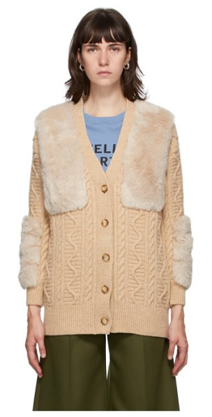 Stella McCartney beige faux fur cardigan in 9963 ltfawn