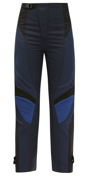 Stella McCartney brooke panelled cotton-blend cropped trousers in navy