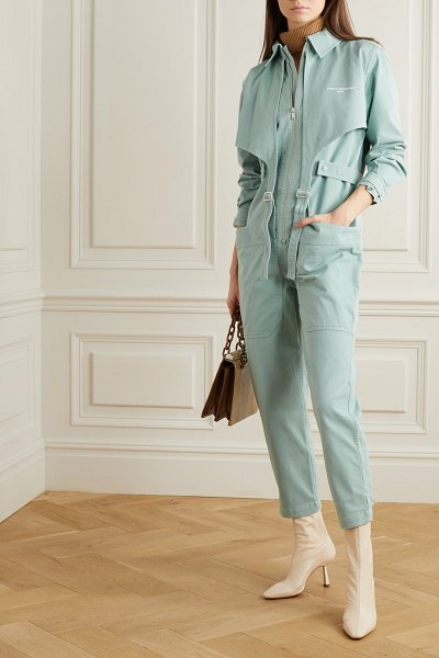 Stella McCartney buckled printed stretch-cotton jumpsuit in mint