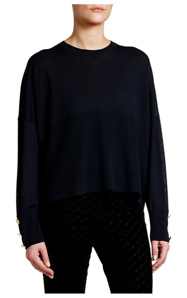 Stella McCartney Button-Sleeve Wool-Silk Sweater in blue