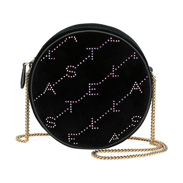 Stella McCartney Crystal Velvet Round Monogram Crossbody Bag in black