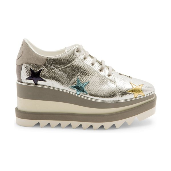 Stella McCartney sneak-elyse metallic star platform wedge sneakers in silver gold