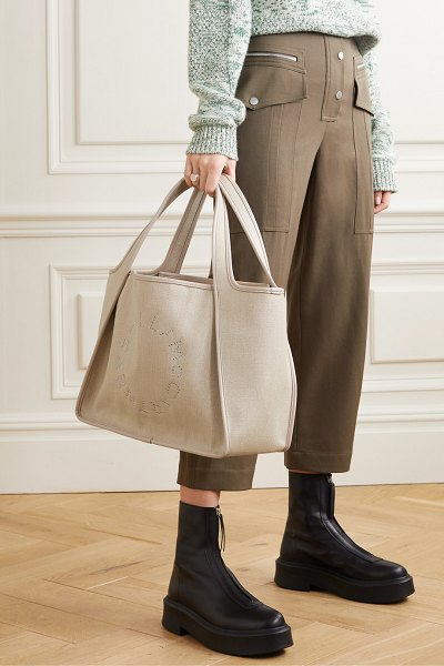 Stella McCartney eyelet-embellished vegetarian leather-trimmed linen-canvas tote in cream