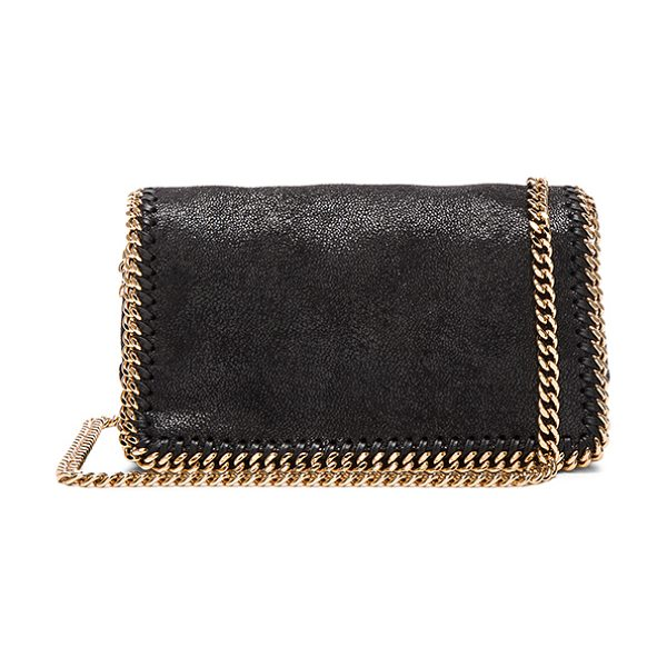 "STELLA MCCARTNEY Falabella Crossbody in black - ""Shaggy deer fabric with signature print poly lining and..."