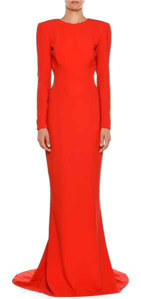 Stella Mccartney High Neck Long Sleeve Open Back Evening Gown In
