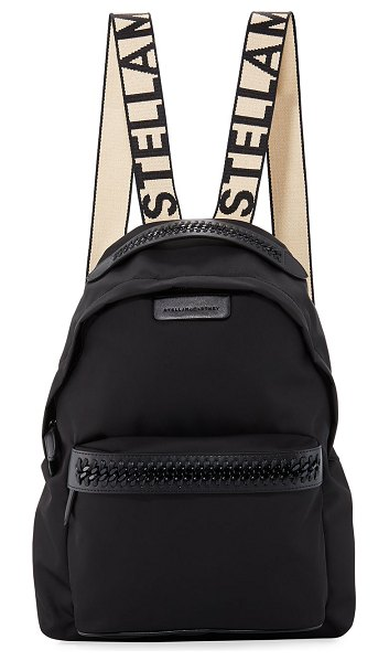 Stella McCartney Logo-Web Nylon Backpack in black