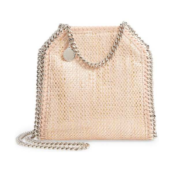 Stella McCartney mini falabella metallic chenille shoulder bag in 6802 blush