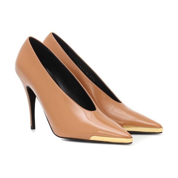 Stella McCartney patent faux leather pumps in brown