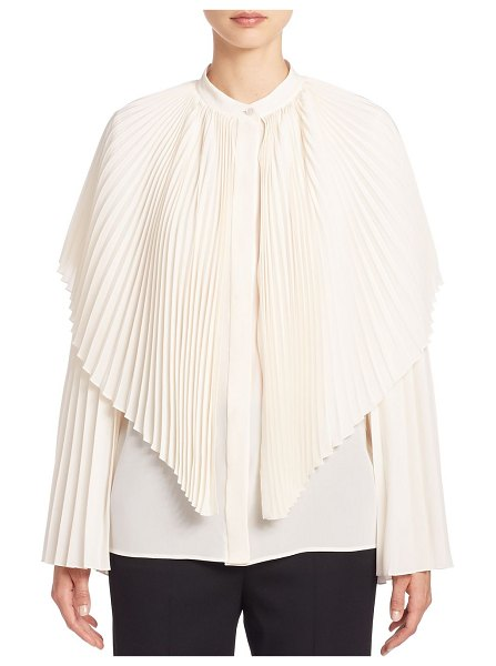 Stella McCartney plisse silk cape blouse in natural - Pleated sleeves and cape overlay update silk blouse....