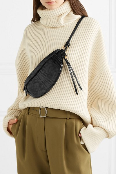 Stella McCartney python-effect faux leather belt bag in black - The belt bag trend is one of the past few seasons'...