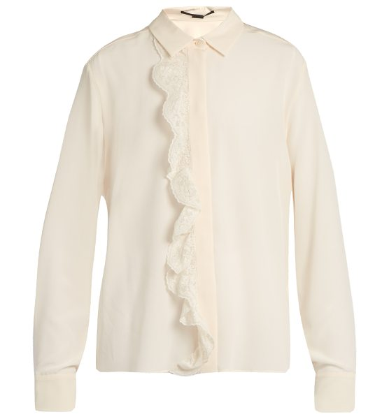 Stella McCartney Ruffled crepe de Chine blouse in ivory - A ruffled trim of white embroidered lace brings a...