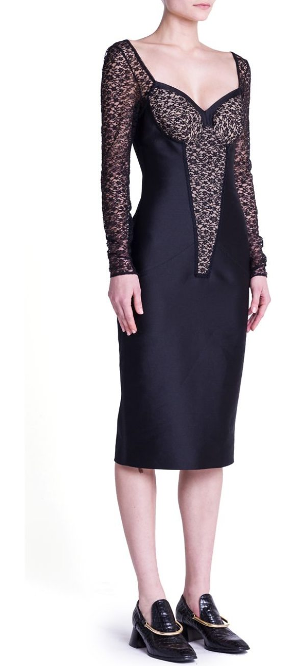 Stella Mccartney Small Rose Lace Cocktail Dress In Black Shopstasy