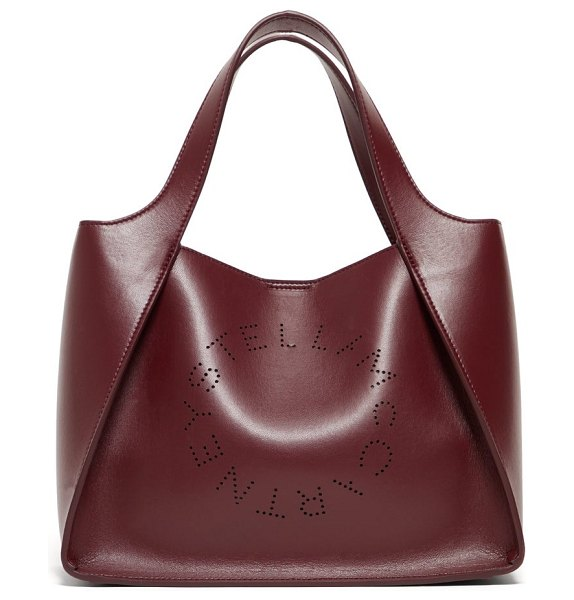 Stella McCartney stella perforated logo faux leather tote bag in burgundy