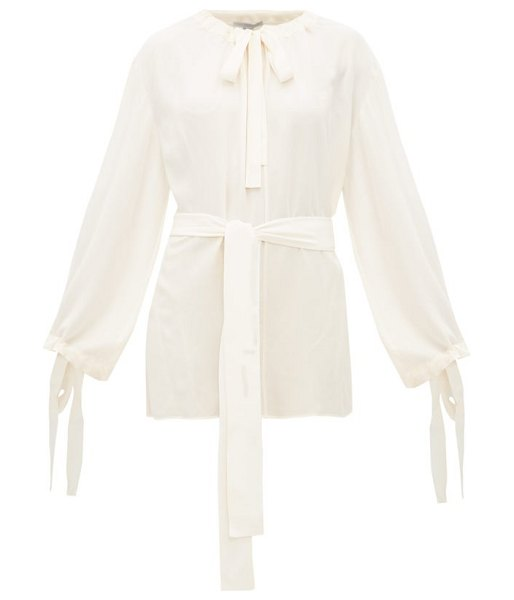 Stella McCartney tie neck silk crepe blouse in ivory