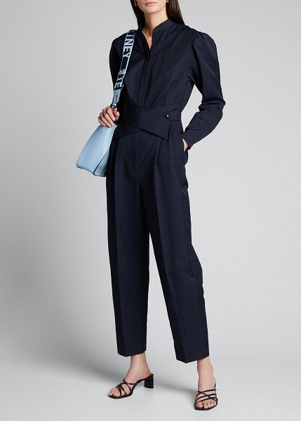 Stella McCartney Utility Long-Sleeve Self-Belt Jumpsuit in navy