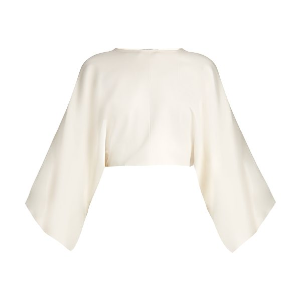 Stella McCartney Wide-sleeved cropped top in cream - This ivory jersey top encapsulates Stella McCartney's...